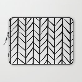 black and white modern hand drawn herringbone chevron pattern Laptop Sleeve
