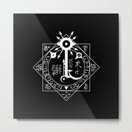 Invisible Sun Symbol on Black Metal Print