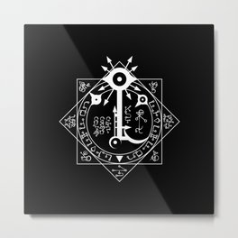 Invisible Sun Symbol on Black Metal Print
