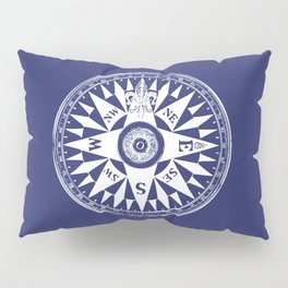 Nautical Compass | Vintage Compass | Navy Blue and White | Pillow Sham