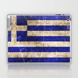 Vintage Aged and Scratched Greek Flag Laptop & iPad Skin