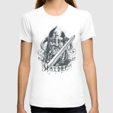 Raider (Viking) White LARGE Womens Fitted Tee