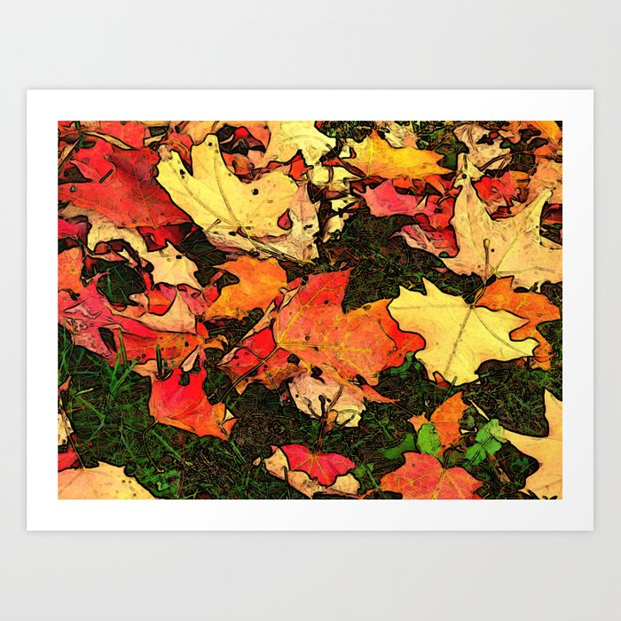 Leaves on Grass Art Print