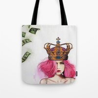 bitch Tote Bags featuring Queen Bitch by Jenny Liz Rome