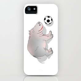 Hippo playing Football iPhone Case