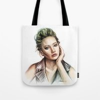 jennifer lawrence Tote Bags featuring Jennifer Lawrence by Creadoorm