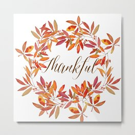Thankful wreath  Metal Print