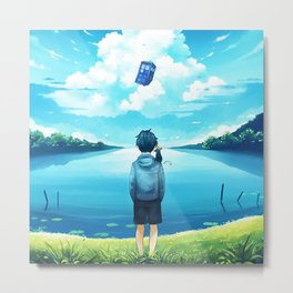Watch The Tardis Flying Metal Print