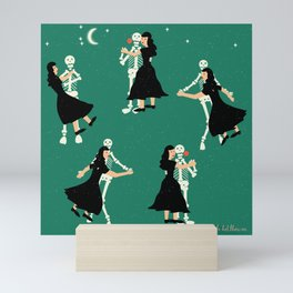 Dance with Death   Skeleton Tango in Bright Green  Mini Art Print