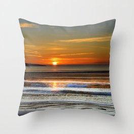 Silver and Gold Sunset Throw Pillow