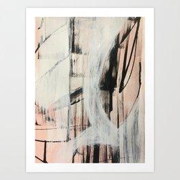 Sweet Tart [2]: a minimal abstract mixed-media piece in pink black and white by Alyssa Hamilton Art Art Print