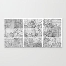 Cafe sketches by David A Sutton. 18 piece horizontal. sketchbookexplorer.com Canvas Print