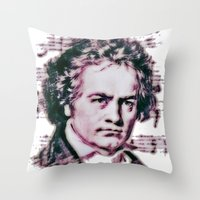beethoven Throw Pillows featuring Beethoven by Zandonai
