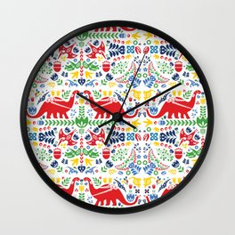 Swedish Folk Art Dinosaurs Wall Clock