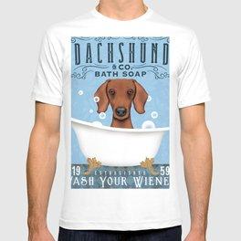 Dachshund doxie wiener dog bath tub clawfoot bubble bath soap art T-shirt
