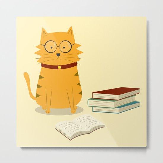 Nerdy Cat Metal Print