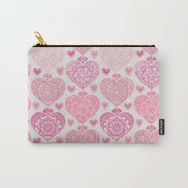 Pink Heart Valentine's Doilies Pattern Carry-All Pouch