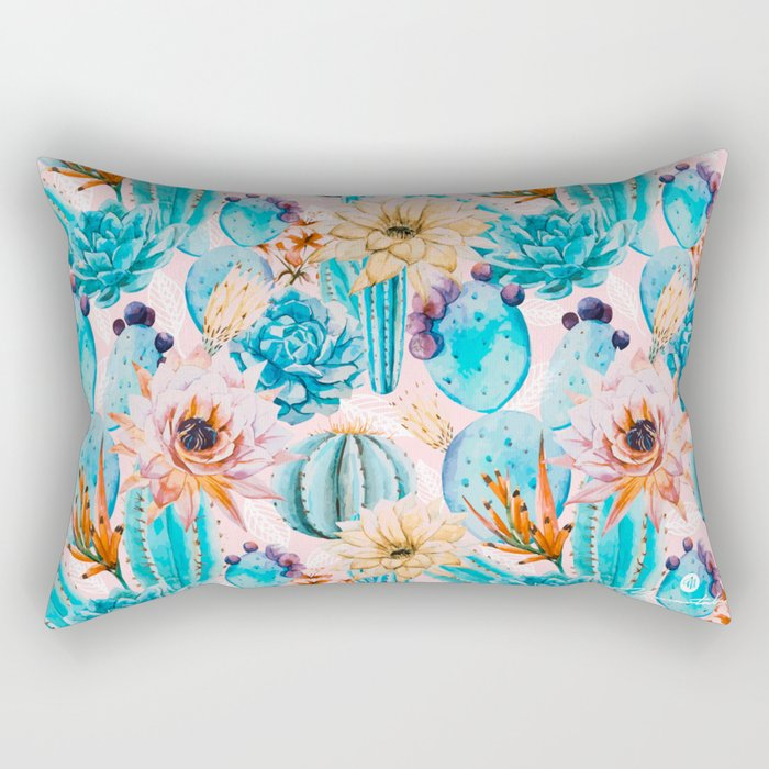 Cactus and flowers pattern Rectangular Pillow