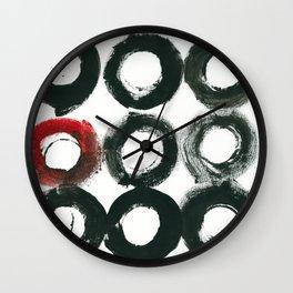 Black Circle Red Circle Wall Clock