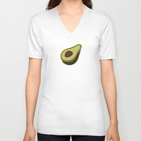avocado V-neck T-shirts featuring Avocado Pattern by Alisa Galitsyna