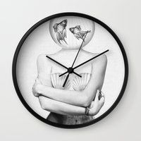 wesley bird Wall Clocks featuring Pisces  by Jenny Liz Rome