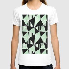 Black, green polygonal geometric pattern. T-shirt