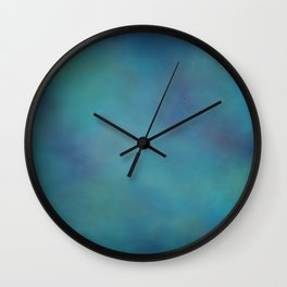 Abstract Soft Watercolor Gradient Ombre Blend 14 Teal, Purple, and Black Wall Clock