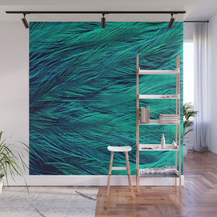 Teal Feathers Wall Mural