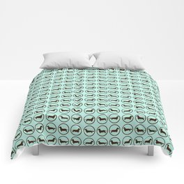O is for Oscar, Light Turquoise with Dark Brown Doxies Comforters