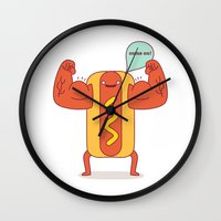 motivational Wall Clocks featuring Motivational meathead with mustard by simon oxley idokungfoo.com