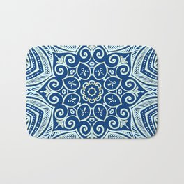 Blue and Gold  flowers pattern Bath Mat