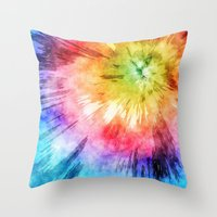 tie dye Throw Pillows featuring Tie Dye Watercolor by Phil Perkins