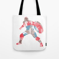 steve rogers Tote Bags featuring Steve Rogers (CA) - White Background by MajesticSeahawk Designs