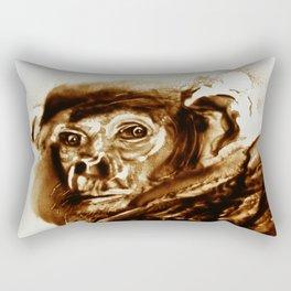 Monkey looking at a human being Rectangular Pillow