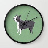 boston terrier Wall Clocks featuring Boston Terrier by Emma Block