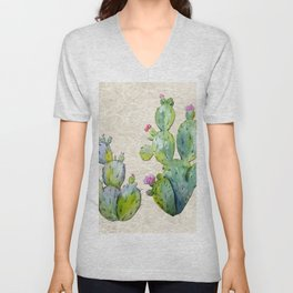 Water Color Prickly Pear Cactus Adobe Background Unisex V-Neck