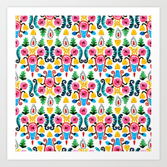 Colorful oriental watercolor floral pattern. by risovanna