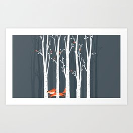 Fox running in the forest Art Print