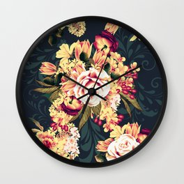 Roses and lilac. Beautiful victorian design on blue Wall Clock