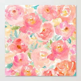Preppy Pink Peonies Canvas Print