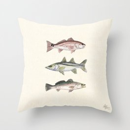 """""""Inshore Slam!"""" by Amber Marine ~ Redfish, Snook, & Trout Watercolor Illustration, (Copyright 2013) Throw Pillow"""