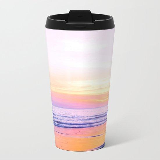 Pink Sunset Beach Metal Travel Mug