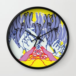my hands as a mountain landscape Wall Clock