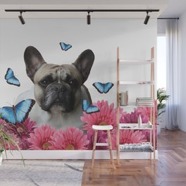 Pug with butterflies and Gerbera Flowers Wall Mural