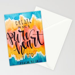 Psalm 51:10 Create in me a pure heart, O God Watercolor Stationery Cards