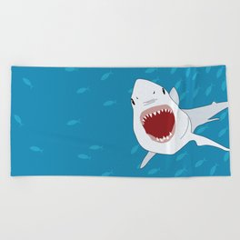 Shark Attack Underwater With Fish Swimming In The Background Beach Towel