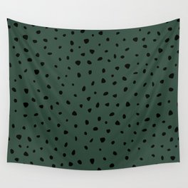 Cheetah Spots animal print minimal wild cat speckles and dots Forest Green Wall Tapestry