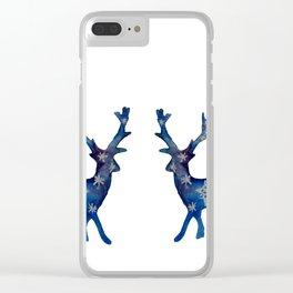 Winter Deer Snowflakes Clear iPhone Case