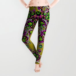 Fantasy flower peacock Mermaid with some soul in popart Leggings