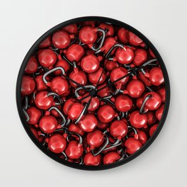 Kettlebells RED Wall Clock